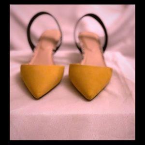 Yellow Suede Kitten Heels w/ Python Detail. EUC